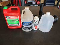 Engine coolant, flush solution, and distilled water